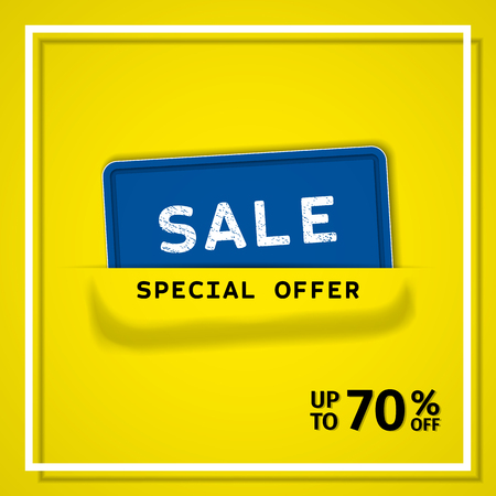 Sale banner. Discount label special offer up to 70% off. Vector background. Template design.