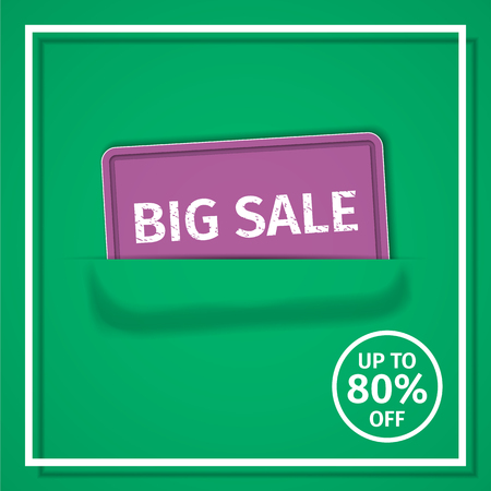 Sale banner. Discount label up to 80% off. Vector background. Template design.