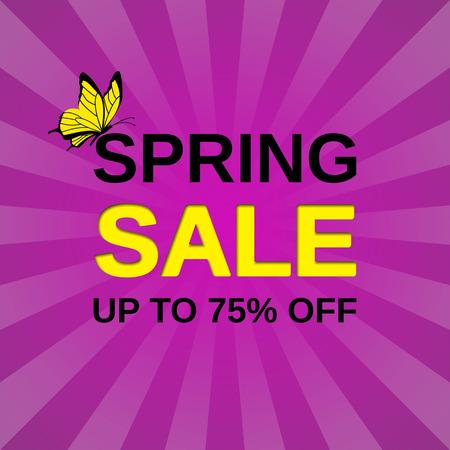 Sale web sticker. Vector banner. Spring discount label. Template design background. Ilustração