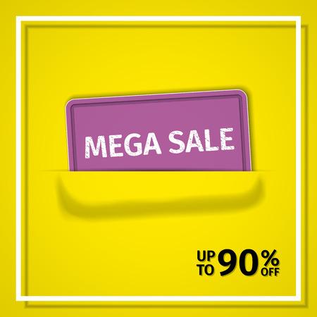 Sale banner. Vector discount label up to 90% off. Poster design. Ilustração