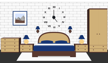 Room interior with bed, furniture. Vector bedroom house design. Cartoon background in flat style with brick wall and carpet.