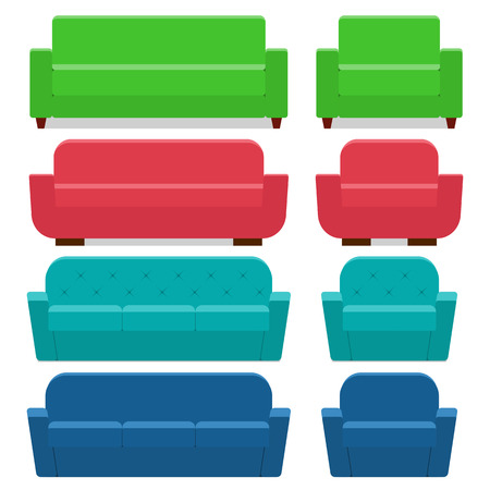 red sofa: Sofas and armchairs in flat design. Vector. Furniture for living room. Cartoon couch. Illustration