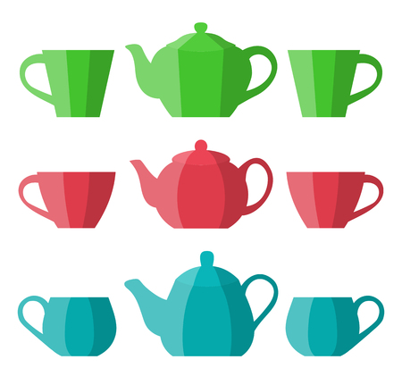 Teapots and cups in flat design. Vector icon. Crockery in cartoon style.