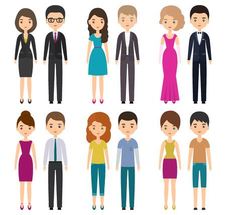 다양한 종류의 드레스 코드로 된 평범한 캐릭터. 벡터 만화 남자와여자가 다양 한 옷을 서 서에 격리 된 흰색 배경.
