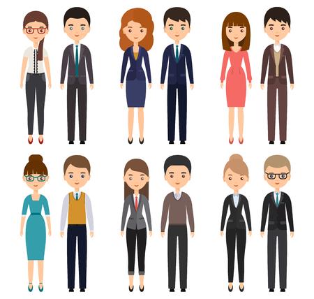 문자 플랫 사무실 근로자입니다. 벡터 비즈니스 남성과 비즈니스 여성, 직원. 흰색 배경에 고립 된 만화 사람들입니다.