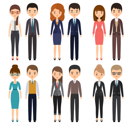 Characters flat office workers. Vector business men and business women, employees. Cartoon people isolated on white background.