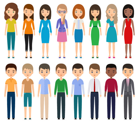 Characters flat people. Vector young men, women in casual and business clothes standing together. Cartoon female, male isolated on white background.