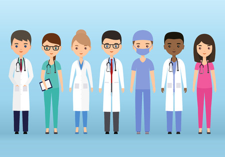 Medical characters flat people. Doctors and nurses standing together. Vector. Hospital staff. Medicine concept.