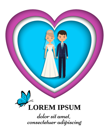 Bride and groom wedding card or invitation in paper art style. Vector flat people characters.
