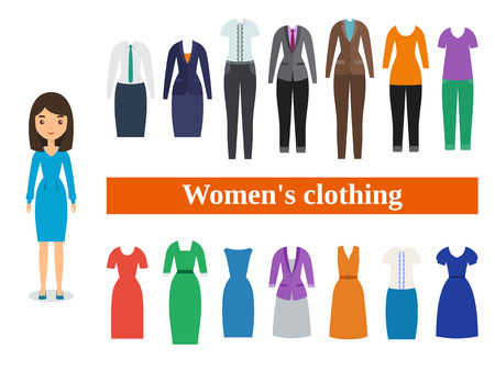 Womens clothing. Business and casual clothes for women. Female character in flat design.