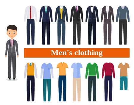 남성용 의류. 남성용 비즈니스 옷. 평면 디자인의 남성 캐릭터입니다. 옷을 입으십시오.