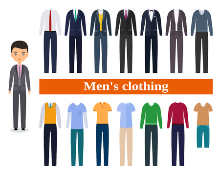 Mens clothing. Business clothes for men. Male character in flat design. Set garment.