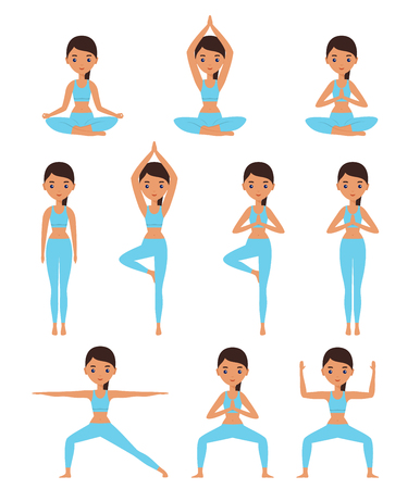 Yoga. Women standing in yoga poses - lotus, goddess, mountain, tree, warrior. Cartoon female characters. Flat people icon. Vector illustration. Иллюстрация