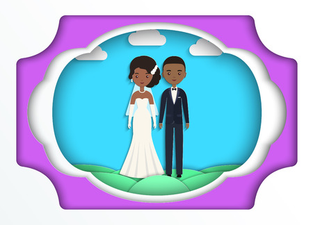 African American bride and groom in paper art style. Vector flat people characters. Cartoon couple newlyweds on blue background. Origami design.  Icons male, female.