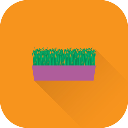 Indoor flower icon. Vector. Flat design with long shadow. Indoor flower in pot isolated on orange background.