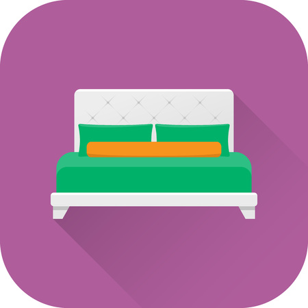 twin bed: Bed icon. Vector. Flat design with long shadow. White double bed isolated on purple background. Furniture for bedroom.
