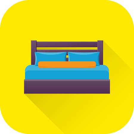 twin bed: Double bed icon. Vector. Flat design with long shadow. Bed symbol isolated on yellow background. Furniture for bedroom.