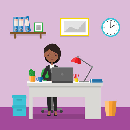 Flat woman sitting at desk. Workspace or home workplace with cartoon female character. Office interior and furniture. Animated people icon. Vector illustration. Illustration