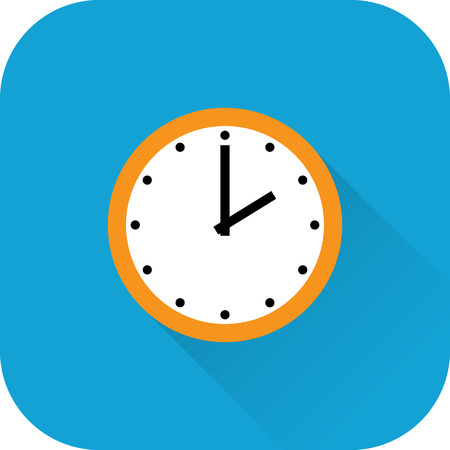 Clock icon. Vector. Flat design with long shadow. Orange time symbol isolated on blue background. Ilustração