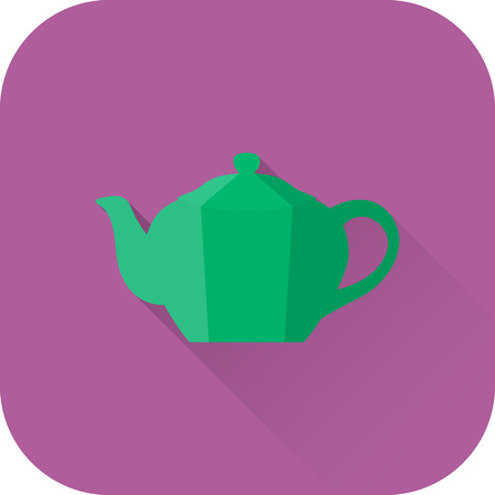 Teapot icon. Flat design with long shadow. Vector. Green kettle isolated on purple background.
