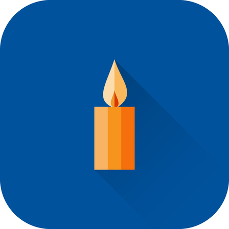 apartment: Candle icon. Vector. Flat design with long shadow. Orange candle isolated on blue background. Illustration