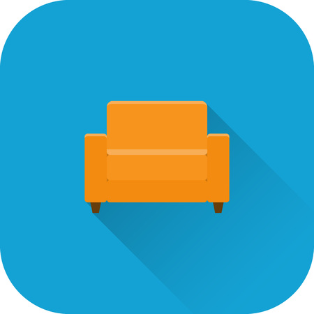 cushioned: Armchair icon. Vector. Flat design with long shadow. Orange chair isolated on blue background.