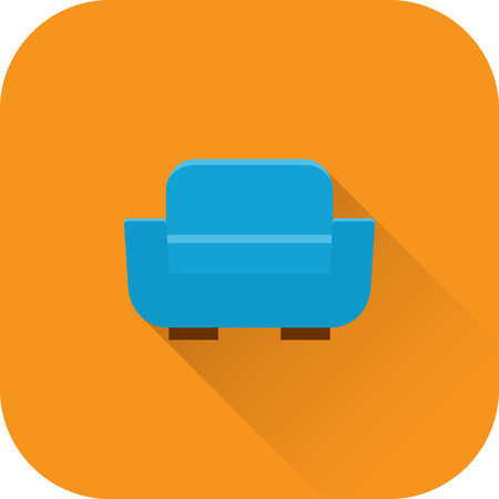 apartment: Armchair icon. Vector. Flat design with long shadow. Blue chair isolated on orange background. Illustration
