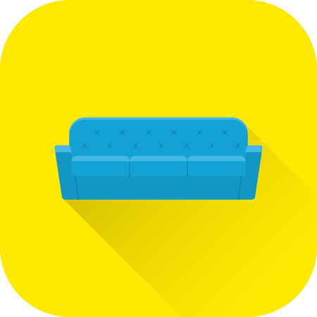 apartment: Sofa icon. Vector. Flat design with long shadow. Blue couch isolated on yellow background.
