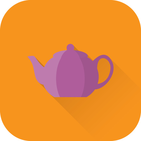 Teapot icon. Flat design with long shadow. Vector. Purple kettle isolated on orange background. Illustration