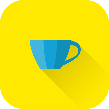 Cup icon. Flat design with long shadow. Vector. Blue cup isolated on yellow background.