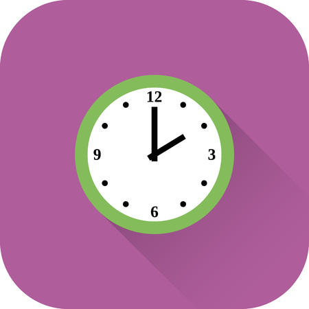 horologe: Clock icon. Vector. Flat design with long shadow. Green time symbol isolated on violet background.