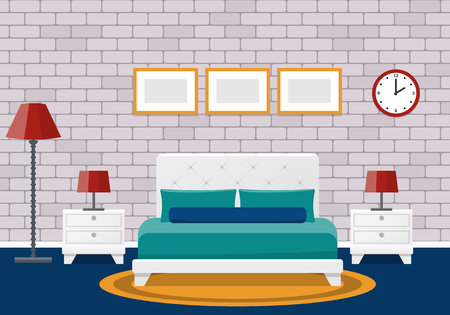 Room Interior Hotel Bedroom Design With Furniture Vector Flat Illustration Cartoon