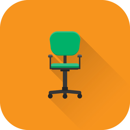 Office chair icon. Vector. Flat design with long shadow. Green armchair isolated on orange background. Illustration