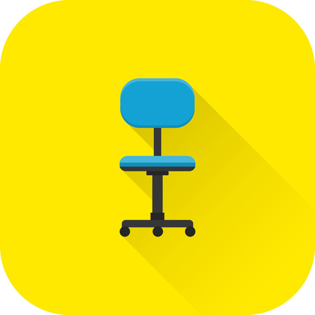 Chair icon. Flat design with long shadow. Office blue armchair isolated on yellow background. Vector illustration.