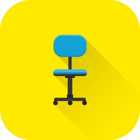 Stoel pictogram. Vlak ontwerp met lange schaduw. Kantoor blauwe leunstoel geïsoleerd op gele achtergrond. Vector illustratie.