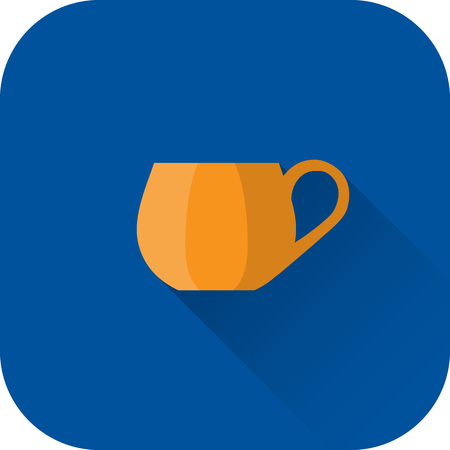 Cup icon. Flat design with long shadow. Orange cup isolated on blue background. Vector illustration.