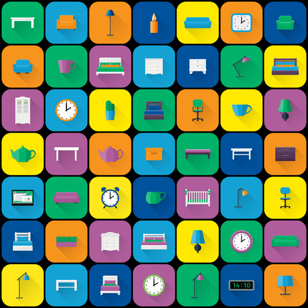 Furniture icons. Vector set. Flat design with long shadow. Fitment on colorful background.