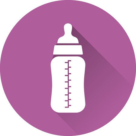 baby: Bottle icon. Vector. White baby bottle on purple background. Baby shower simple symbol in flat design with long shadow.