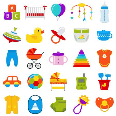 Conjunto de iconos de bebé. Vector. Baby shower símbolos aislados sobre fondo blanco. Elementos de la plantilla de la colección para los cabritos recién nacidos en diseño plano. Ilustración colorida.
