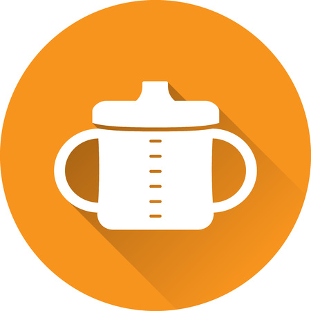 Baby cup icon with handles. Toddler spout mag. Vector. White drinker bottle on orange background. Baby items for newborns. in flat design with long shadow.