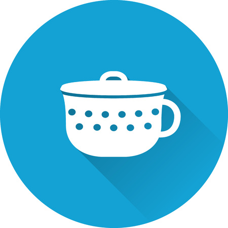 Pot baby icon. Vector. Baby shower simple symbol in flat design with long shadow on blue background.