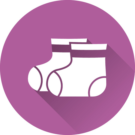bootees: Booties baby icon. Vector. White socks on purple background. Baby shower simple symbol in flat design with long shadow.