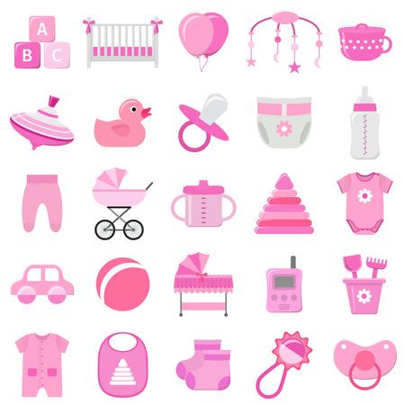Babyikonen eingestellt. Vektor. Rosa Symbole der Babyparty lokalisiert auf weißem Hintergrund. Sammlungsschablonenelemente für neugeborene Kinder im flachen Design. Bunte abbildung.