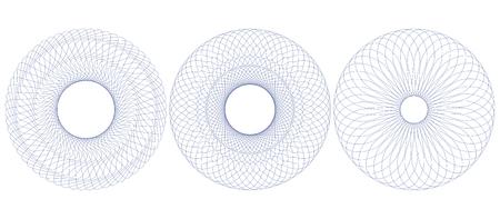 Roseta del patrón de guilloquis para el certificado, el diploma, el vale, el boleto etc. Ilustración del vector. Resumen marco circular de líneas finas.