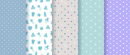 Seamless patterns for baby boy shower party. Set of cute pink backgrounds for invitation templates, scrapbook, cards. Vector illustration. Illustration