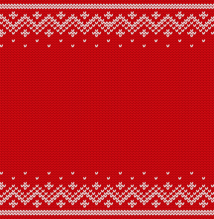 Knit design. Christmas seamless pattern. Xmas red background with place for text. Knitted winter texture. Vector illustration.