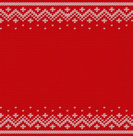 Stricken Design. Weihnachtsnahtloses Muster. Weihnachtsroter Hintergrund mit Platz für Text. Gestrickte Winter Textur. Vektor-Illustration.