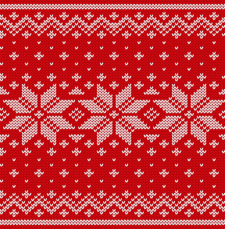 Christmas seamless pattern. Knit scandinavian design. Vector Xmas red background. Knitted winter texture.