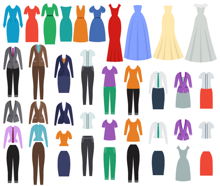 Clothes for women. Business, casual and evening clothing in flat design. Set of dresses and garments. Vector illustration Illustration