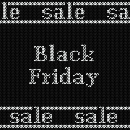 Black Friday sale poster on knitted seamless pattern. Black banner with white text. Knit winter texture. Vector illustration. Stock Illustratie